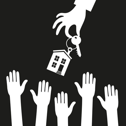 image of hands wanting keys to a home, outlining a demand for housing