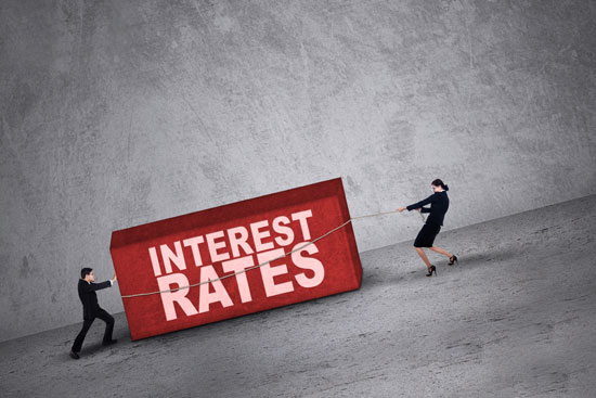 image showing two people trying to handle higher interest rates with in illustration